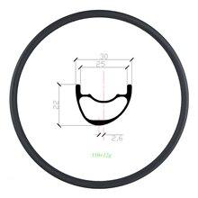 310g 29er MTB XC 30 millimetri asimmetrico cerchio in carbonio per copertoncino tubeless 22 millimetri in profondità UD 3K 12K opaco lucido 24H 28H 32H 29in mountain ruota