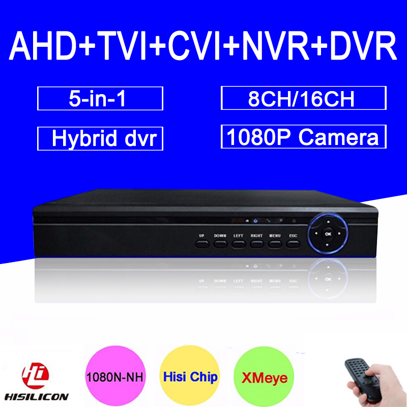 Hi3521A 1080P/960P/720P/960H 16CH/8CH 5 in 1 Coaxial Hybrid TVI NVR AHD DVR Surveillance Video Recorder Free Shipping To Russia