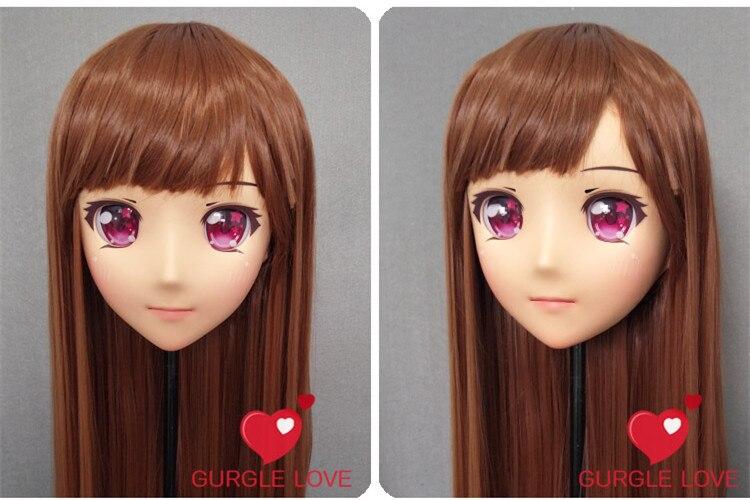 Female Sweet Girl Resin Half Head Kigurumi Mask With Bjd Eyes Cosplay Japanese Anime Role Lolita Mask Crossdress Doll dm146 Nice