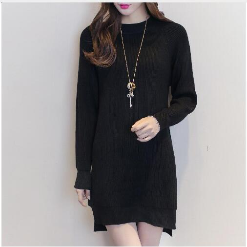 Thick Warm Pullovers Autumn Winter Casual Black Red Knitted Tops Round Neck Open Slit Jumper Women Loose Sweater Dress 1096