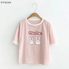 fb753c73 KYQIAO Striped shirt 2019 mori girls summer Japanese style fresh cartoon  cute short sleeve pink rabbit striped t shirt tee