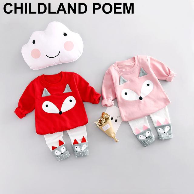 2017 nova primavera do bebê conjuntos de roupa da menina do bebê dos miúdos crianças raposa dos desenhos animados t-shirt + calças 2 pçs/set bebê roupa das meninas definir outerwear