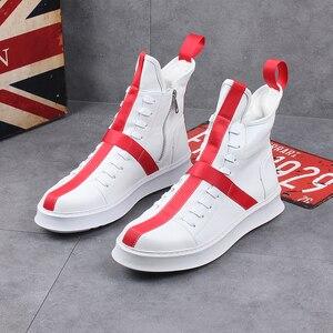 Image 5 - Мужские кроссовки в стиле хип хоп, уличная танцевальная обувь с высоким берцем, кожаная повседневная обувь на толстой подошве, желтые, белые кроссовки на плоской подошве, 2019