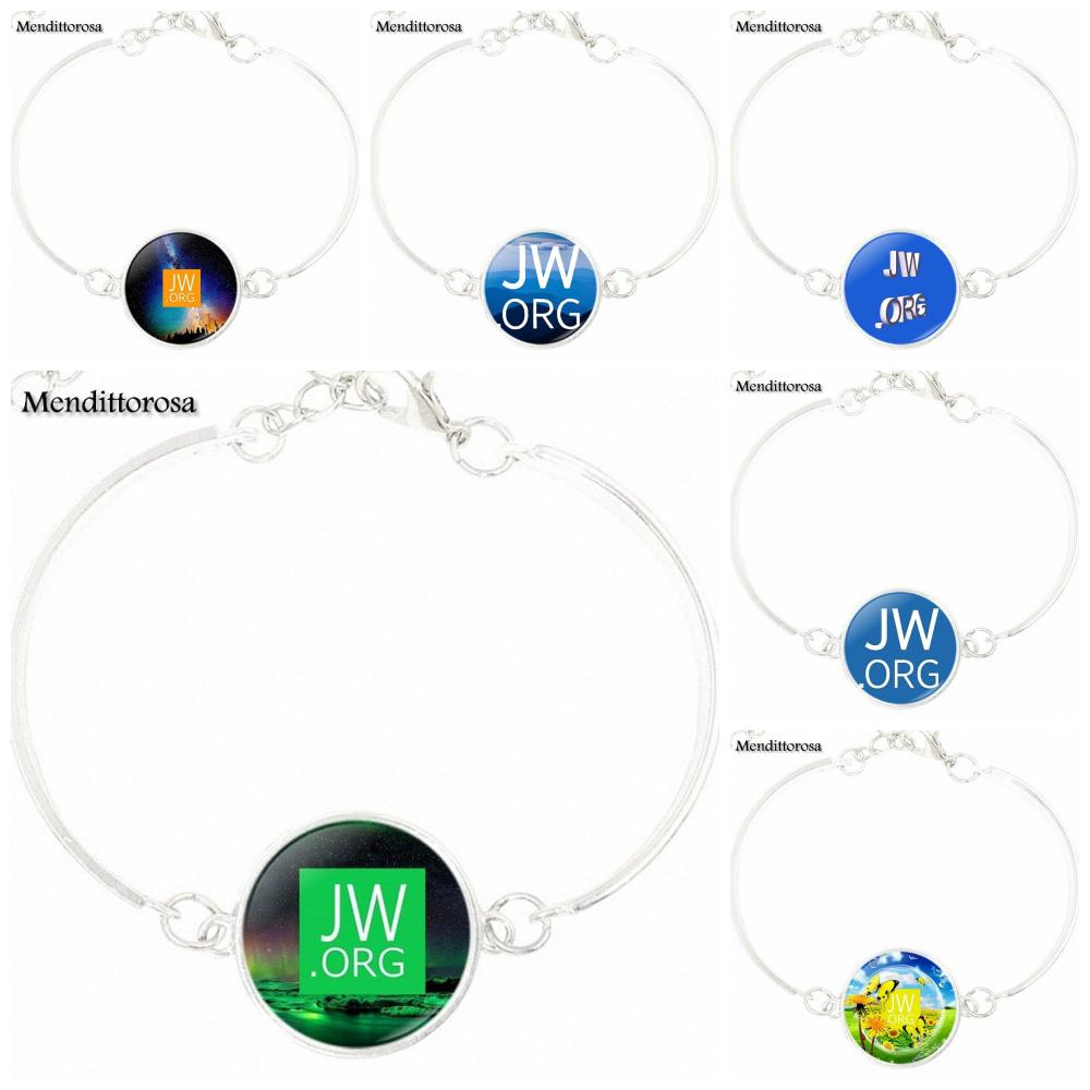 For Women Wedding Gift Harajuku Style Jewelry With Silver Plated Glass Cabochon Bracelet Bangle JW ORG