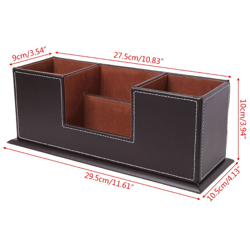 Pen Holders Provided Multifunctional Office Desktop Decor Storage Box Leather Stationery Organizer Pen Pencils Remote Control Mobile Phone Holder Ideal Gift For All Occasions Desk Accessories & Organizer