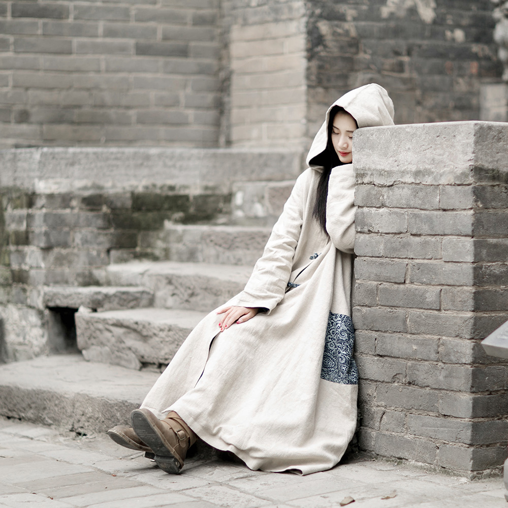 MM002 Spring 2016 Chinese Style frog buttons vintage robe long maxi outerwear women hooded linen   trench   coat dress
