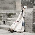Mm002 primavera 2016 de estilo chino rana botones traje vintage maxi largo mujeres prendas de vestir exteriores de lino con capucha trench coat dress
