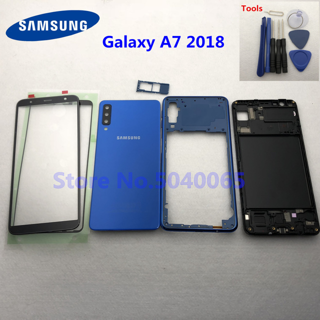 For Samsung A7 2018 SM A750F A750F Full Housing Front Mid Frame Plate Bezel Battery Back Cover Door Case A7  A750 + Front Glass