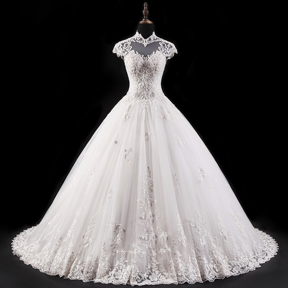 Custom Made High Neck Cap Sleeve Sexy Open Back Appliques Beading Sequins Princess Ball Gown Wedding Dress Plus Size Casamento