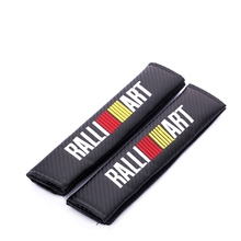 Embroidery for Ralliart emblem Car carbon fiber style seat belt cover shoulder pad Mitsubishi Lancer 10 evo Asx accessories