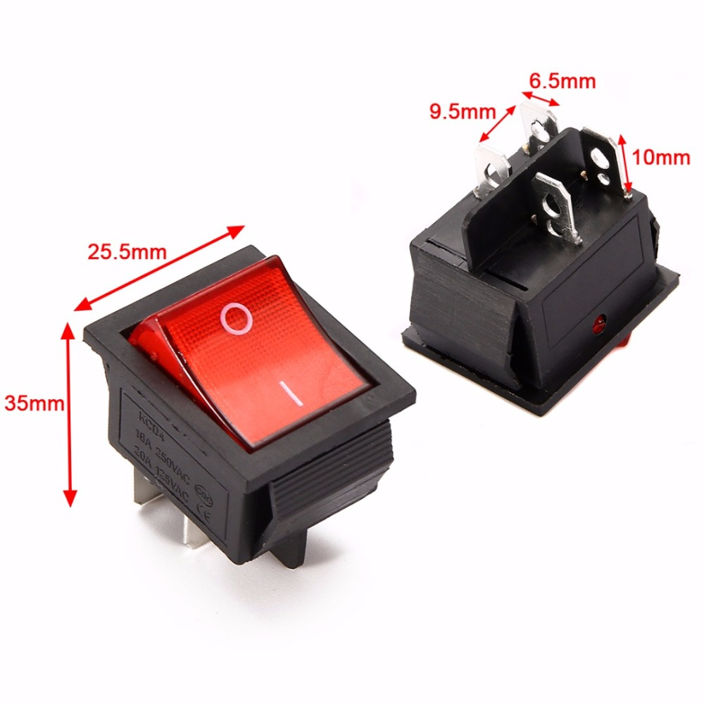 5pcs/lot Red Lamp Light Rocker Switches 4 Pin ON/OFF 2 Position Boat Rocker Switch 16A/250V 250vac 15a 125vac 20a 4 pin 2 position dpst on off snap in rocker switch kcd2 201n
