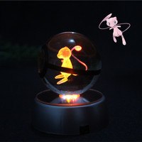 Fashion Small Handball 50x50mm Crystal Pokemon Ball Design Mew With Led Base For Baby Birthday Gift