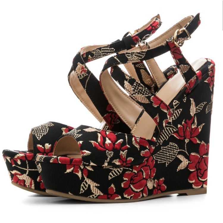 Wedge Women Sandals Zapatos Mujer Fashion Summer Floral Platform Shoes Sexy Cross Strap Gladiator Ladies Sandals Sandalias criss cross platform wedge sandals