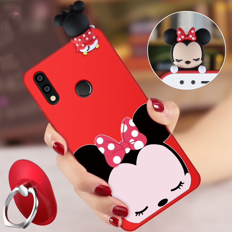 For Huawei P20 lite Cartoon 3D Mickey Mouse Minnie phone Cases For Huawei P20/P20 lite Cat Soft silicon minnie back cover +Strap