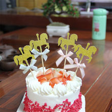10pcs Horse Happy Birthday Cake Toppers Decoration Kids Decorating Pick Pock Flags Tool Party Supplies