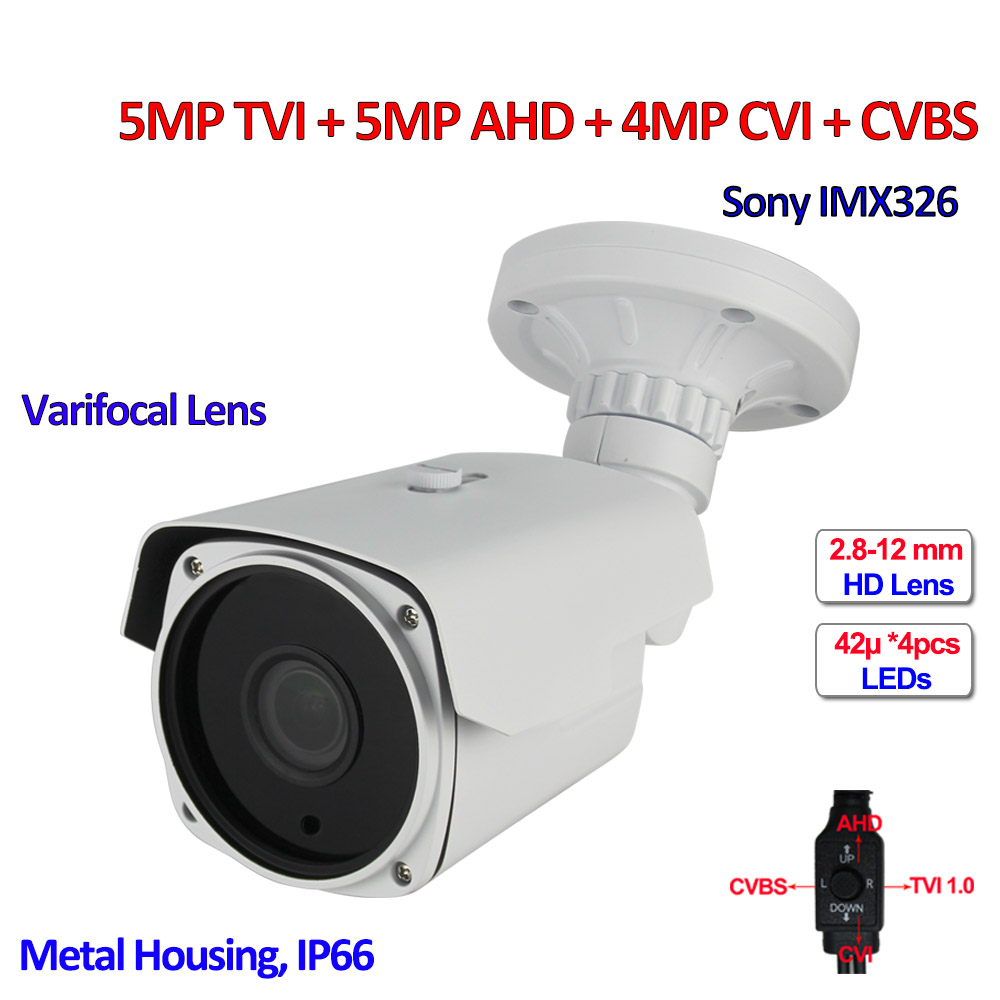 4 in 1 5MP TVI 4MP CVI AHD surveillance cameras outdoor IMX326 sensor Security camera, Varifocal Lens, SMD IR LED, OSD, DNR, UTC 4 in 1 ir high speed dome camera ahd tvi cvi cvbs 1080p output ir night vision 150m ptz dome camera with wiper
