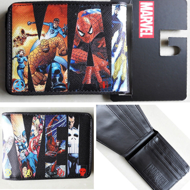 2018 Marvel Comics LOGO Hero collection wallets Purse 12cm Leather Man women New W010 2018 epic game gears of war logo wallets purse red leather man women new w135