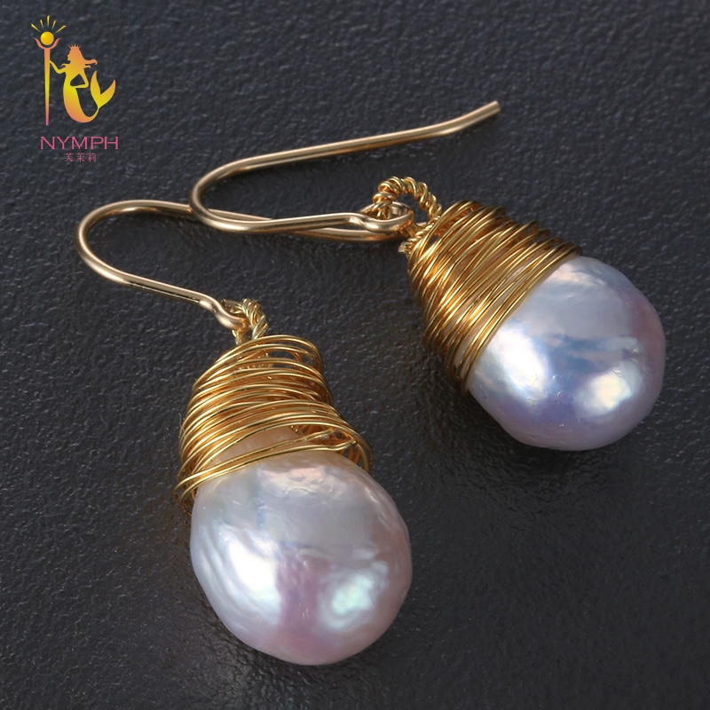 [NYMPH] Freshwater Pearl Earrings For Women Fine Jewelry Big Natural Baroque Pearl Earrings Fashion Gift For Party E301 недорго, оригинальная цена
