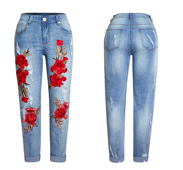 2017 Europe and the United States new women stretch loose jeans women trousers color flowers 3D stereo embroidery holes jeans (9)