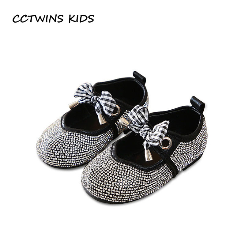 CCTWINS KIDS 2018 Autumn Toddler Rhinestone Mary Jane Baby Girl Fashion Party Flat Children Black Butterfly Princess Shoe GM2031 wendywu 2017 spring toddler fashion pu leather mary jane baby girl rhinestone princess ballet children heeled shoe black