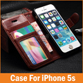 De lujo caso de cuero capa para apple iphone 5 5s 5g sí coque para iphone5 Cubierta de La Carpeta Del Tirón Photo Frame Soporte Titular de la Tarjeta Bolsos de Piel