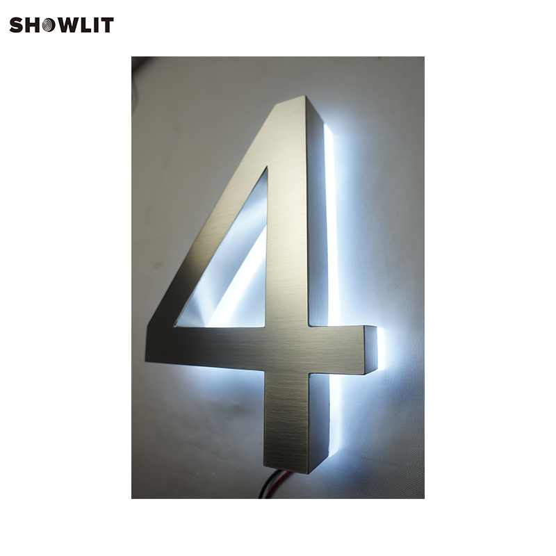 8 Tall Brushed Stainless Steel and Metal Outdoor Backlit Letters8 Tall Brushed Stainless Steel and Metal Outdoor Backlit Letters