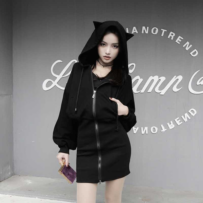 Fashion Cute Ear Cat Patchwork Hoodies Sweatshirt Women Harajuku Zipper Black Punk Gothic Long Sweatshirt Female Autumn Jacket