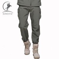 KIHEITAI Winter Thermal Fleece Pants Men Soft Shell Military Tactical Trousers Waterproof Army Pant Cargo Pantalon Homme