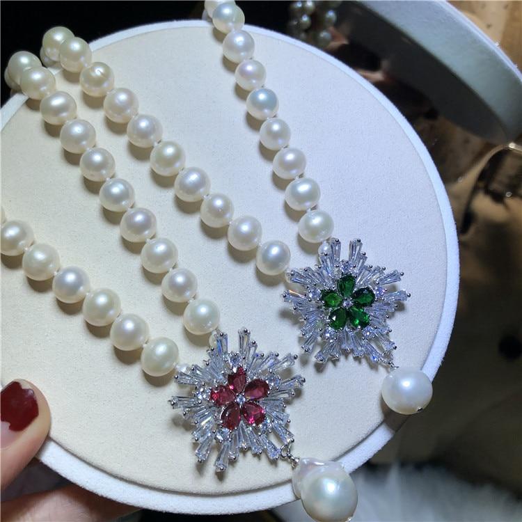 Ręcznie tkany naturalne 9 10mm biały słodkowodne pearl śniegu cyrkon akcesoria krótki łańcuszek naszyjnik moda biżuteria w Naszyjniki łańcuszkowe od Biżuteria i akcesoria na  Grupa 1