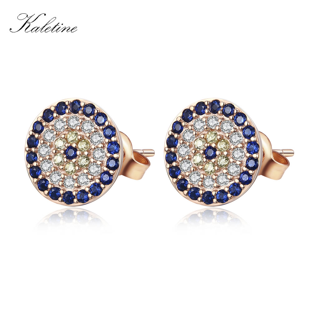 Kualitas tinggi Asli 925 Sterling Silver CZ Kristal Beruntung Turki Evil Eye Earrings Wanita Perhiasan Kuning Rose Gold KLTE009