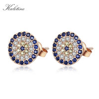 High Quality Genuine 925 Sterling Silver CZ Crystal Lucky Turkey Evil Eye Earring