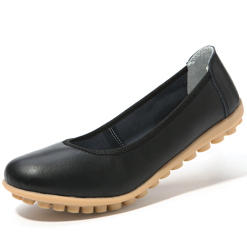 White Fashion Women Loafers Slip on Dance Shoes Genuine Leather Office Work Shoes Female Ballet Shoes X945 35