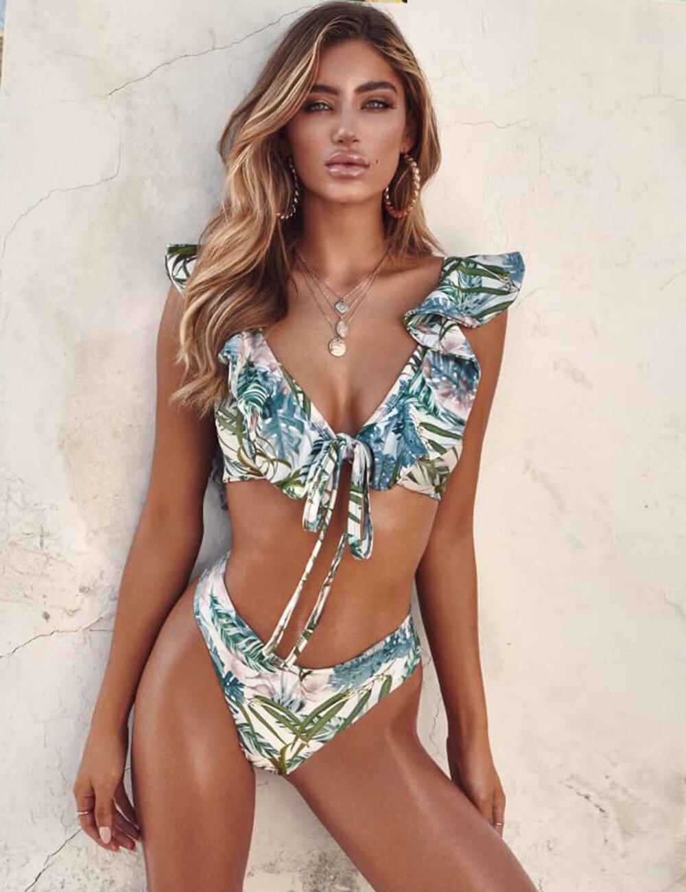Hot Leaves Print Bikinis 2019 Rash Guards Ruffle Shoulder Women Bikini Set Bathing Suit Swimming Suits For Women Biquinis