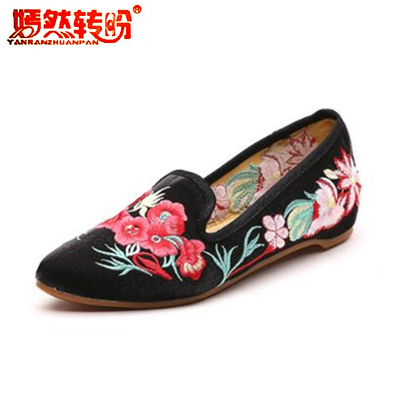 Gorgerous Embroider Shoes Woman Flower Ballet Flats Vintage Satin Pointed Toe Loafers Slip-on Old Beijing Dance Single Shoes new arrived vintage bowknot women single shoes pointed toe ballet flats flat fashion slip on shoes woman footwear size 35 39