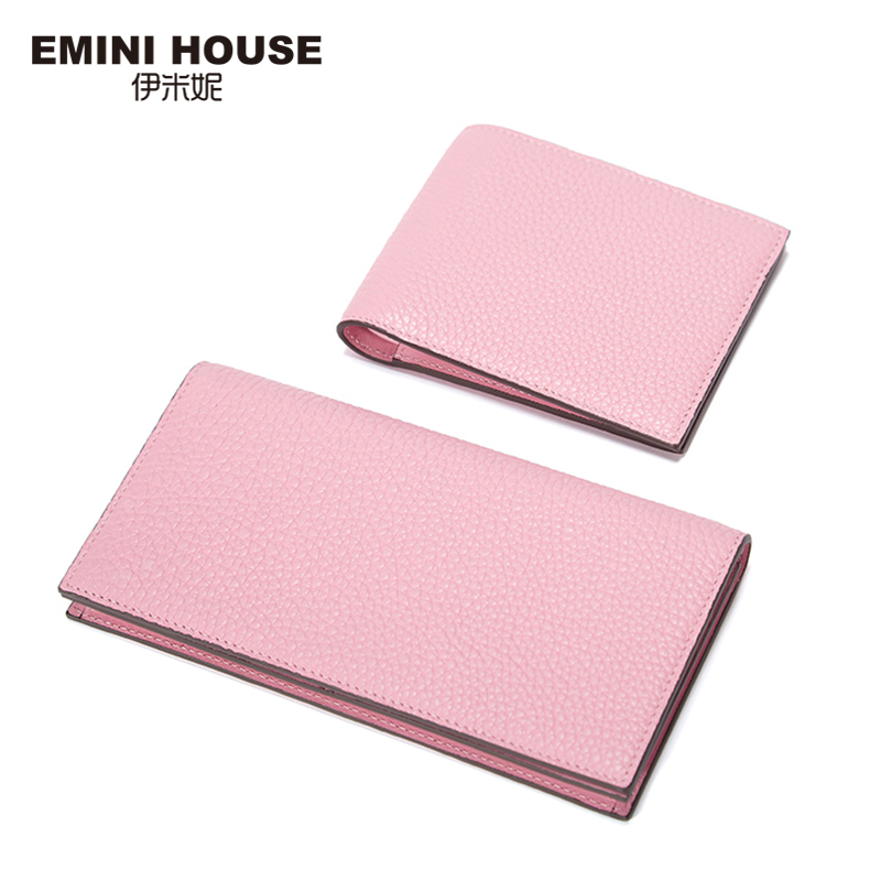 EMINI HOUSE 2 Size Genuine Leather Wallet Women Fashion Pochette Female Purse Handy Minimalist Pink Wallet Card Holder For Women plastic standing human skeleton life size for horror hunted house halloween decoration