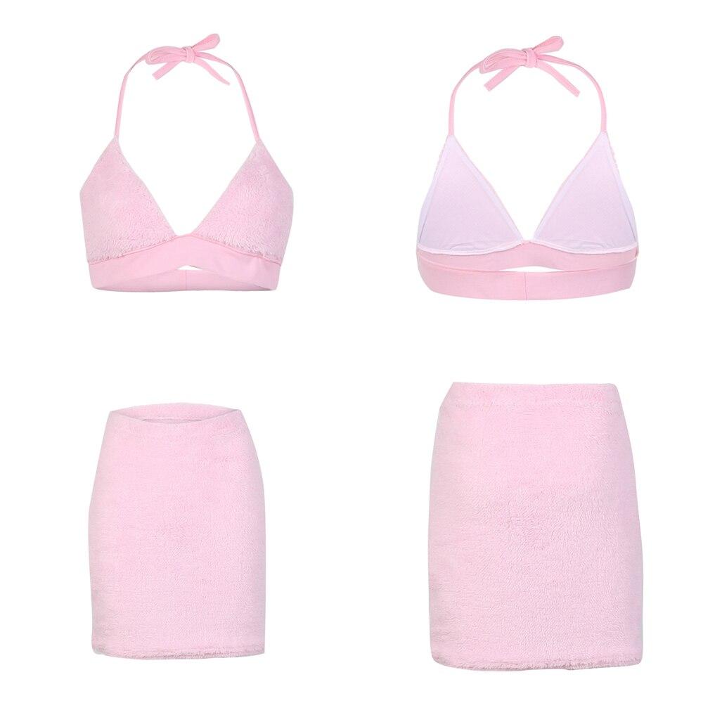 Camisola Lápiz Conjunto Mini Rosa Felpa Crop Sin De Espalda Ropa Faldas Camisa Otoño Dos Femenina Piezas Top Falda Traje Invierno RtwqTFTS