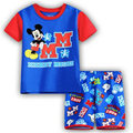 Newest Summer Boys Mickey Blue pajamas Sets Boys Pajamas Children Pyjamas Girls Cartoon Pajamas Kids Clothing sets Free shipping