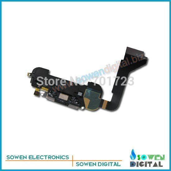 charger port USB Flex with Mic charging port dock connector buzzer ring complete for iphone 4, 100% guarantee