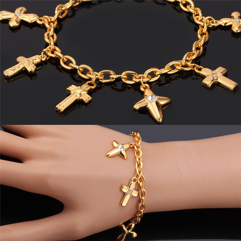 Collare Bracelets For Women GoldSilver Color Rhinestone Christian