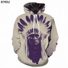 6eaae13e91 KYKU Indiano Hoodie Dos Homens Hip Hop Moletom Branco Rei 3d Hoodies  Caráter Longo Impresso Engraçado