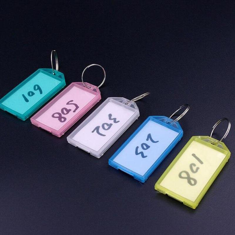 50pcs Metal Ring Colorful Plastic Key Fobs Luggage ID Card Name Label Tag Keyring Classification Key ChainsFree Shipping