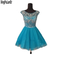 Real Sample Cap Sleeve Low Back Short Mini Sexy Silver Beaded Blue Tulle Open Back Girls Graduation Prom Dresses