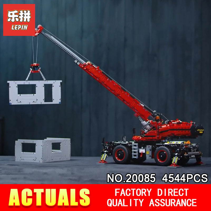 New Lepin 20085 Compatible With The 42082 Technic Series Rough Terrain Crane Building Blocks Bricks Educational With Battery Box lepin technic 20085 legoingly 42082 rough terrain crane model set building blocks bricks educational toys for children christmas