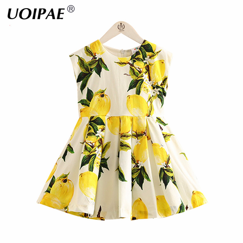 Kids Girls Party Dress 2018 Summer New Fashion Lemon Printing Dress For Girl Sleeveless Cute O-neck Children Clothing 4973W cute off the shoulder lemon dress for women