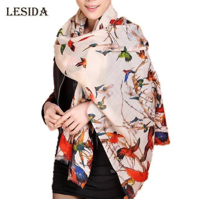 LING/fino cálido 100% bufanda de cachemira mujeres, estilo de moda de invierno elegantes noche mantón, pashmina, impresión pájaro, largo 190*70 cm! W3907