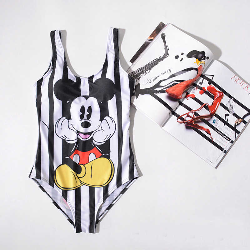 3de4842737 21 Types Swimsuit 2019 Mickey Cartoon Printed High Leg One Piece Swimsuit  Thong Bikini Striped Plus