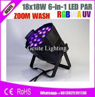 Free Shipping 6pcs/Lot Stage floor light par led zoom18x18w rgbwa uv 6in1 led par zoom dmx light 18w led wash zoom par 64