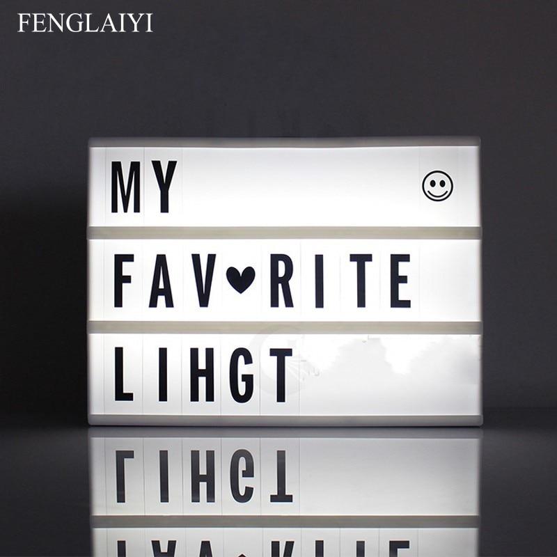 2018 Neswest A4 A5 A6 Taille Led Boîte à Lumière Nuit LED Boîte à Lumière De Cinéma Cinématographique Lightbox Nuit Lumière Lampe DIY lettres Combinaison