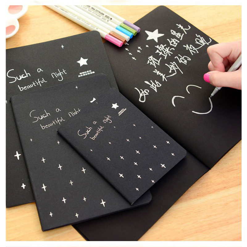 <font><b>Kawaii</b></font> Cute <font><b>Notebook</b></font> <font><b>Diary</b></font> Black Paper Notepad Sketch Graffiti <font><b>Notebook</b></font> For Drawing Painting Office School Stationery Gifts image