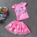 NUEVO Bebé Ropa de verano Niñas Ropa Conjuntos de Dibujos Animados lindo pony camiseta + faldas de la manera ropa de las muchachas fijaron 2 UNIDS